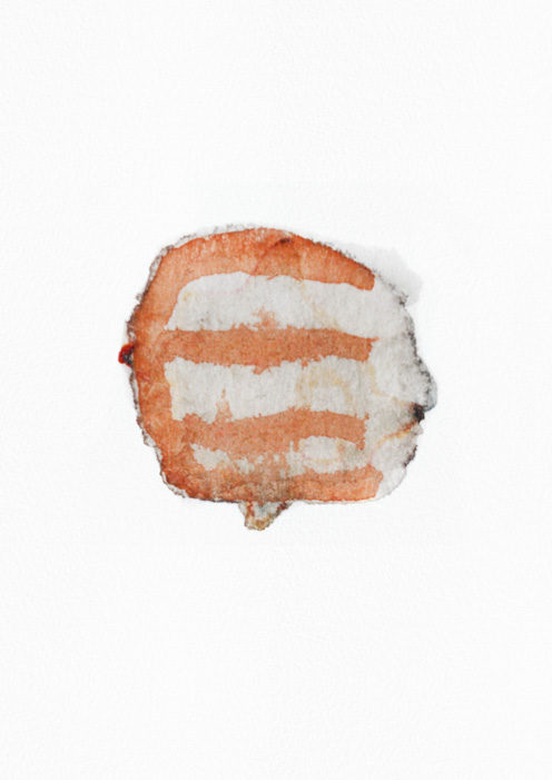 example of handmade watercolor logo, head with brown lines