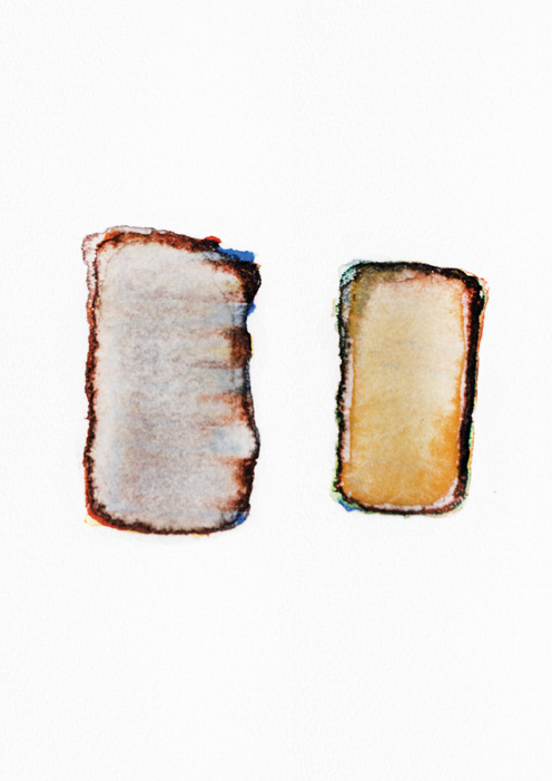 example of handmade watercolor signet, two brown rectangles with a little bit of blue