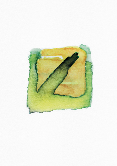 example of handmade watercolor signet, green line on yellow background