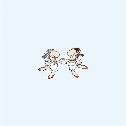 dancing couple with big noses, white short dresses, braids, defining the art of cartoon illustration, non-realistic, vector illustration