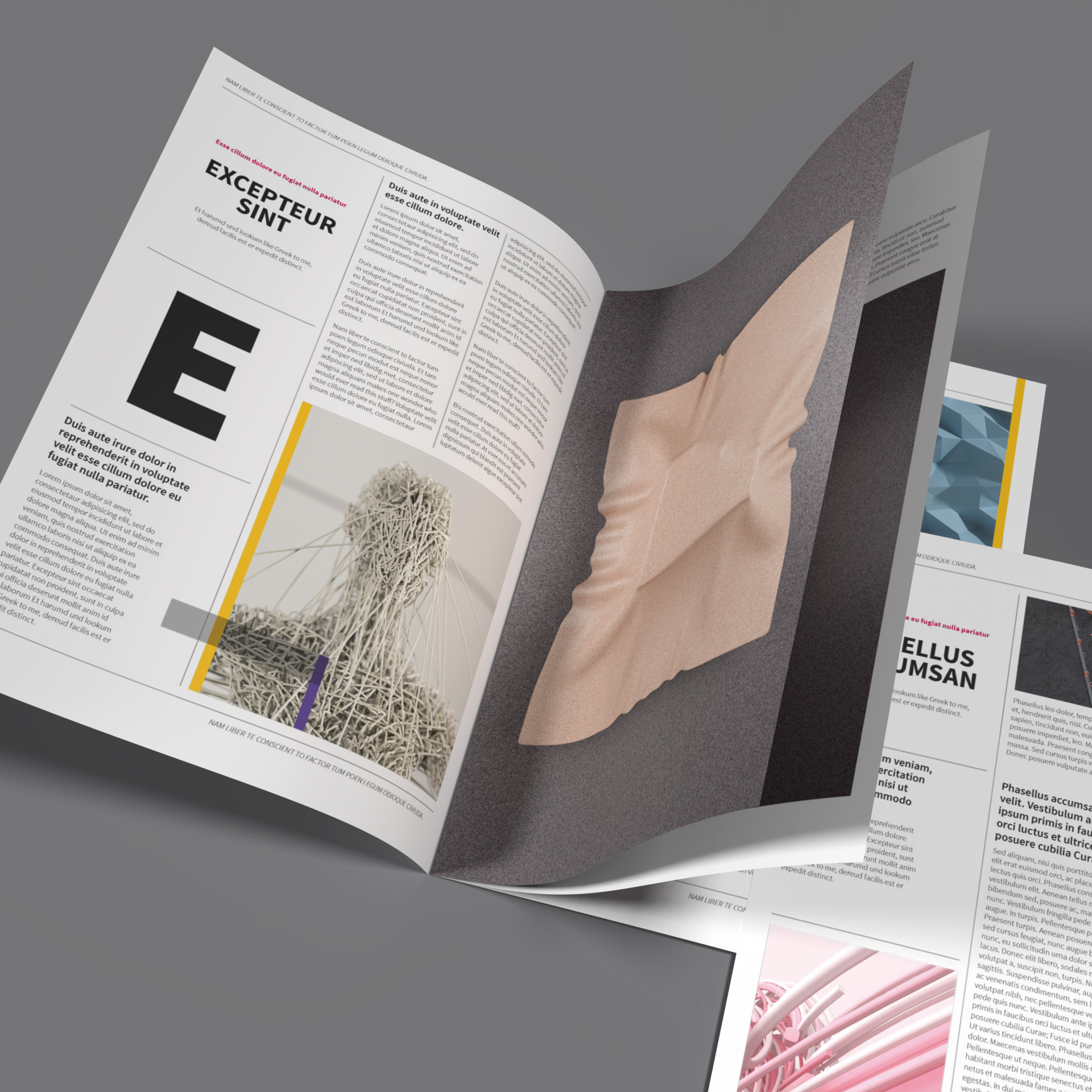 InDesign magazine layout template fully editable and customizable, professional and well structured