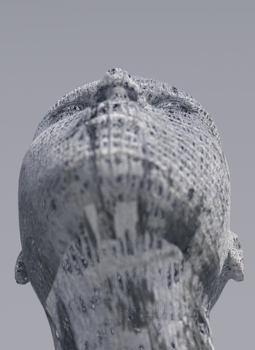 example of depth of field (DoF), shallow depth of field head image, look up
