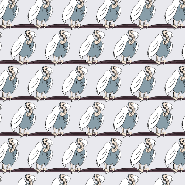 vulture with white feathers, example of an artistic pattern series, seamless pattern, illustrator, vector illustration