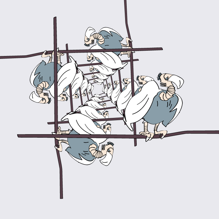 vulture with white feathers, example of an artistic pattern series, cartoon style, non realistic, vector illustration, illustrator template