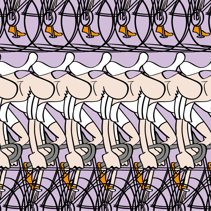 ride my bicycle, art of illustration redefined, cartoon style, non-realistic, seamless pattern, vector illustration, Illustrator template