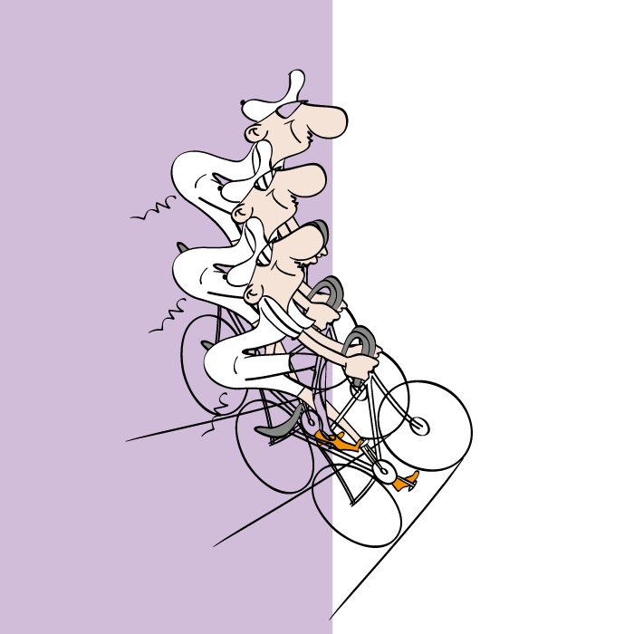 ride my bicycle, art of illustration recreated, cartoon style, non-realistic, transform effect, vector illustration