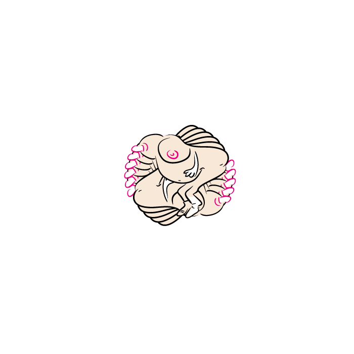 free the nipple, example of a cartoon illustration, non-realistic, reduced to the max, transform effect, vector illustration