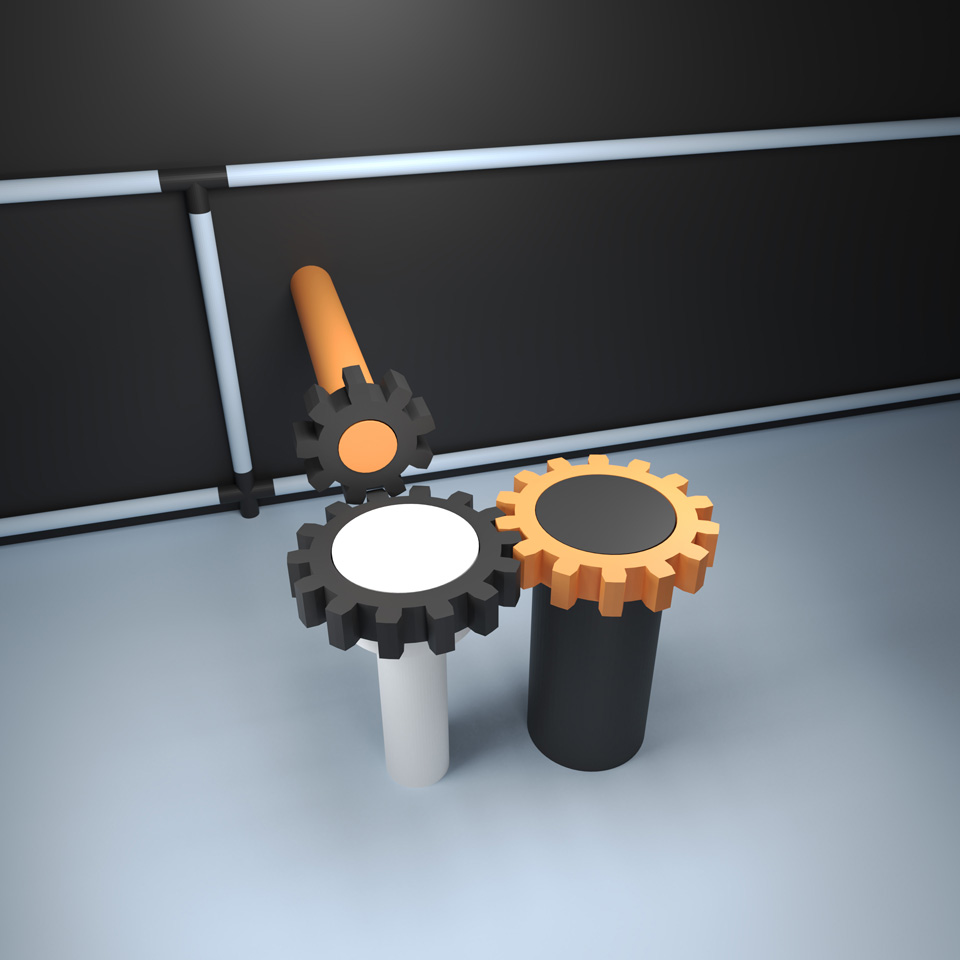 like a stereotyped image – unlike any stereotyped image, illustration of three gears meshing together, gear mechanics, keep it simple, made with Blender
