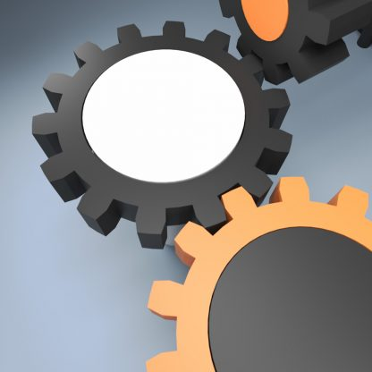 like a stereotyped image – unlike any stereotyped image, illustration of three gears meshing together, reduce to the max, keep it simple, close up gear image