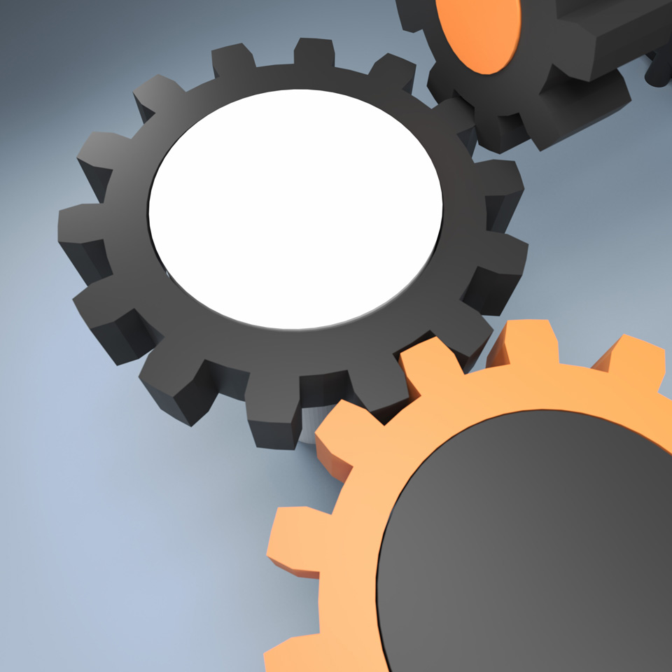 like a stereotyped image – unlike any stereotyped image, illustration of three gears meshing together, reduce to the max, keep it simple, close up gear image, Blender 3D model