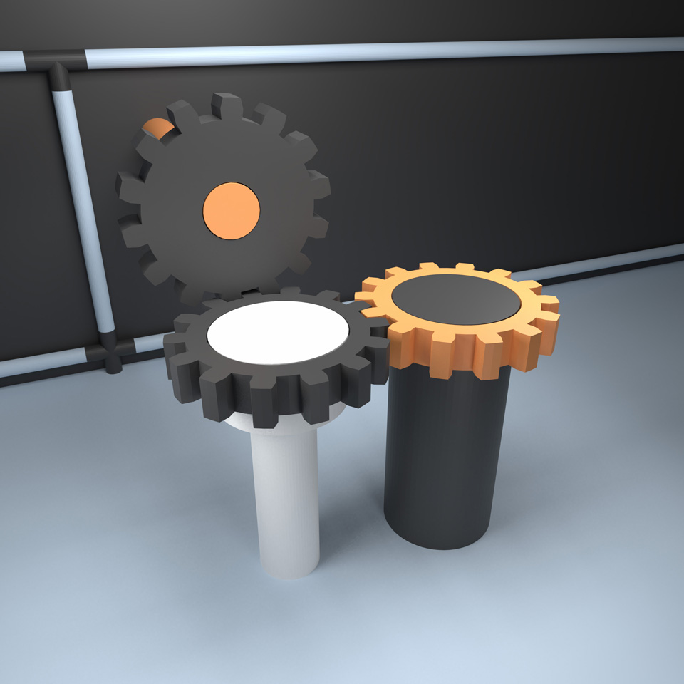 like a stereotyped image – unlike any stereotyped image, illustration of three gears meshing together, reduce to the max, keep it simple, Blender 3D model for download