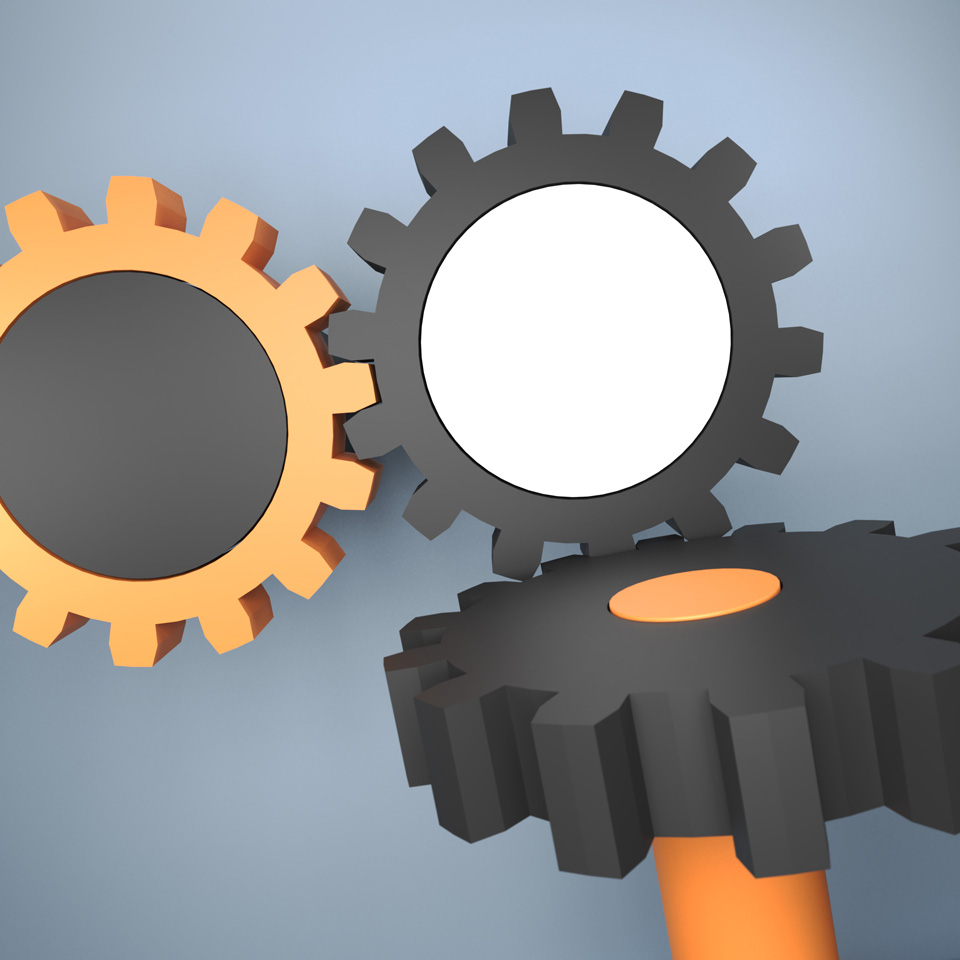 like a stereotyped image – unlike any stereotyped image, illustration of three gears meshing together, gear mechanics, keep it simple, close-up, made with Blender's physics engine
