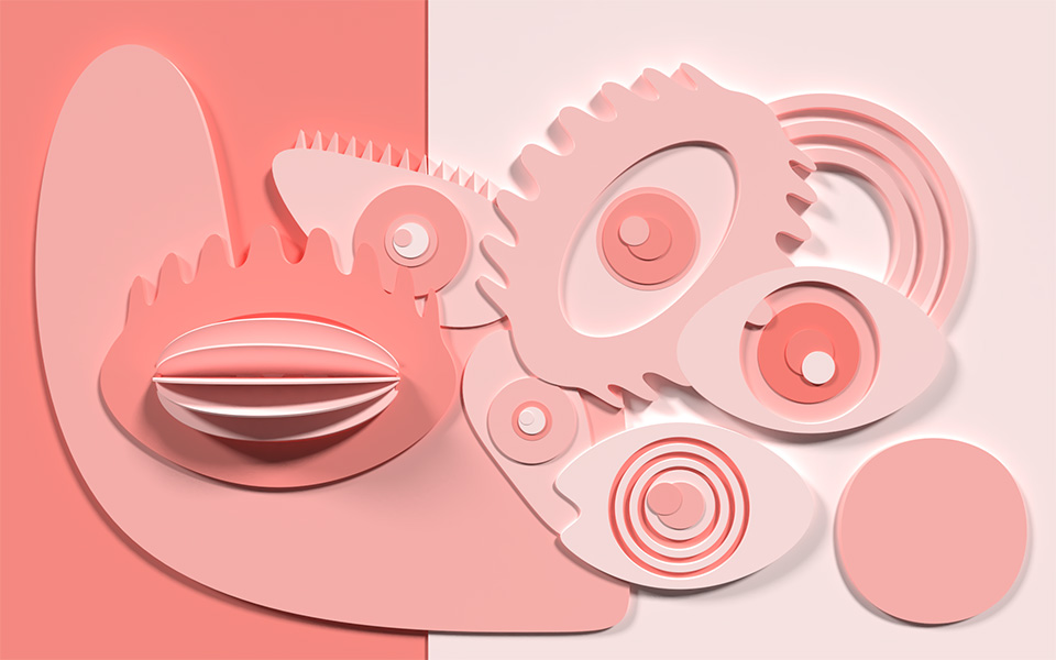visual art image of six eyes looking at you, main color is pink, available as CGI and 3D model, example of a new kind of asset, that puts a smile on your face