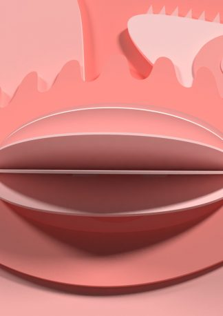 visual art image of six eyes looking at you, main color is pink, available as 3D model, example of a new kind of 3D asset, that puts a smile on your face