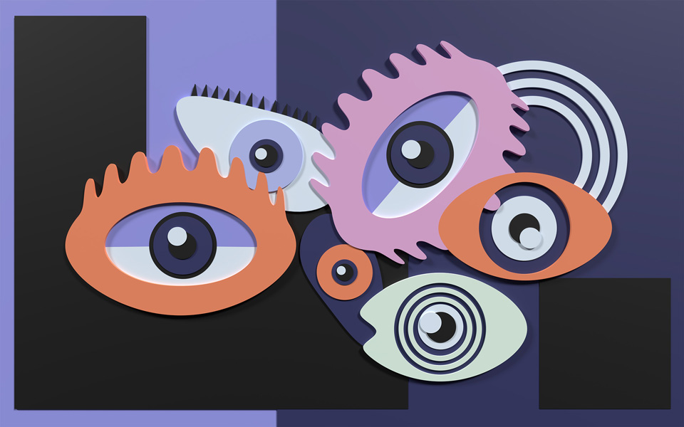 visual art image of six eyes looking at you, main colors are blue, white, orange and pink, available as CGI and 3D model