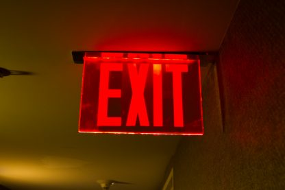 red exit sign illuminated
