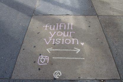 fulfill your vision, writing messages on the pavement in chalk, instagram logo